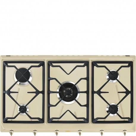 Smeg SRV896POGH Piano di cottura Estetica Coloniale Gas 90 cm Panna Incasso Tradizionale