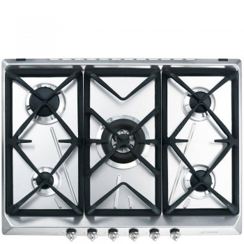 Smeg SRV576GH5 Piano di cottura Estetica Contemporanea Gas 7075 cm Acciaio Inox Incasso Tradizionale