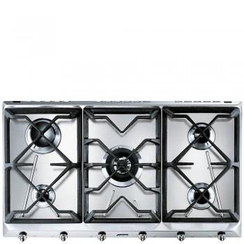 Smeg SRV596GH5 Piano di cottura Estetica Contemporanea Gas 90 cm Acciaio Inox Incasso Tradizionale