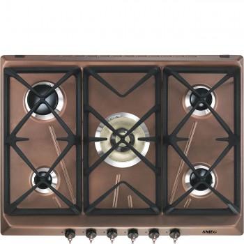 Smeg SRV876RAGH Piano di cottura Estetica Coloniale Gas 7075 cm Rame Incasso Tradizionale
