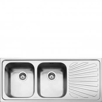 Smeg SP116D Lavello Universale Lavello saldato Standard Gocciolatoio Destro Numero vasche 2 Acciaio Inox