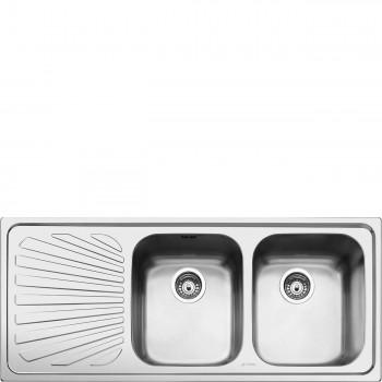 Smeg SP116S Lavello Universale Lavello saldato Standard Gocciolatoio Sinistro Numero vasche 2 Acciaio Inox