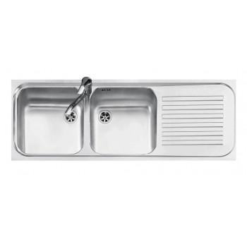 Jollynox 1I12050290DK Serie 090 Lavello 2 vasche incasso 116 x 42 con gocciolatoio destro  inox