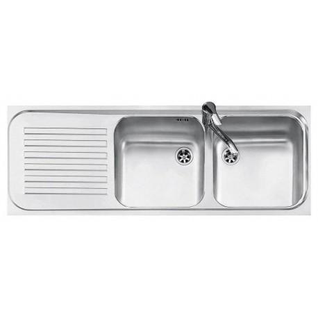 Jollynox 1I12050290SK Serie 090 Lavello 2 vasche incasso 116 x 42 con gocciolatoio sinistro  inox