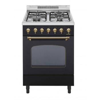 Jollynox 1CAR60MN Cucina da accosto cm 60  4 fuochi  1 forno elettrico  nero opaco