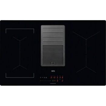 Aeg IDE84243IB Piano cottura a induzione cm 83 con cappa integrata da 630 m3h  vetroceramica nero