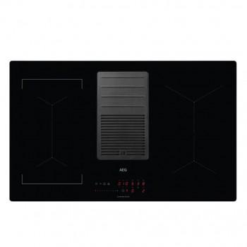 Aeg IDE84244IB Piano cottura induzione cm 83 con cappa integrata da 630 m3h  vetroceramica nero
