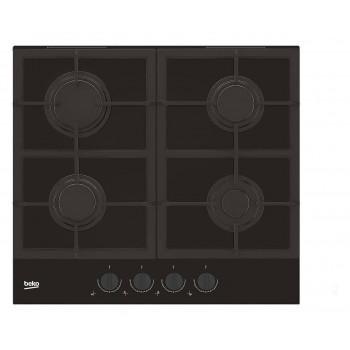 Beko HILG 64325 SDX Blacken Piano cottura a gas 60 cm  cristallo nero con manopole dark inox