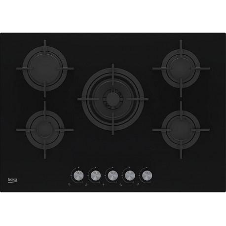 Beko HILW 75222 S Piano cottura a gas cm 75  cristallo 4 bruciatori  1 wok