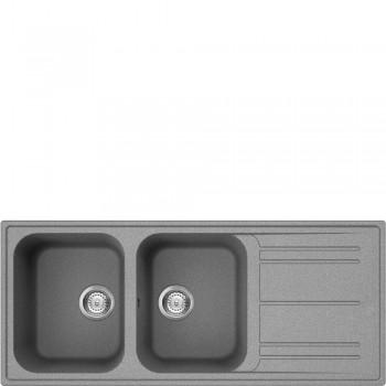 Smeg LZ116CT Lavello Universale Lavello sintetico Standard Gocciolatoio Reversibile Numero vasche 2 Cemento