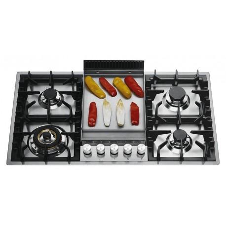 Ilve HPT95F Professional Plus Piano cottura a gas filotop cm 90 con piastra fry top  inox